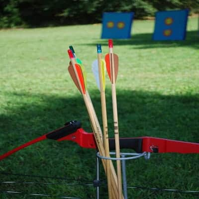 A picture of a bow and a arrow. The picture shows the different nocks and two blue targets in the background.